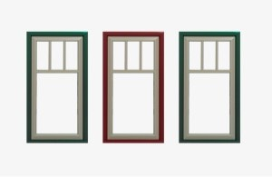 Shows three different windows highighting different architectual styles