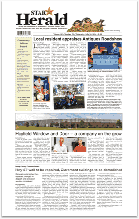 Star Herald Newspaper front page showing artical about Hayfield Window & Door growing - publish date July 16, 2014, article title: Hayfield Window & Door – a company on the grow