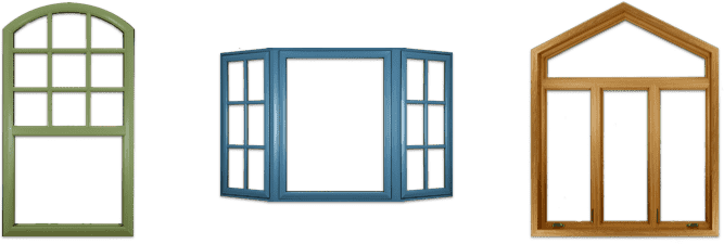 Three different window color styles, one with a green wood finish, another bay-style window with blue finish, and a third specialty shape with wood texture